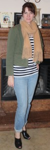 Mossimo army jacket, Old Navy jeans, Guess booties, Express striped shirt, rabbit hair scarf