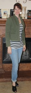 Old Navy jeans, Express striped shirt, Mossimo jacket, Guess booties